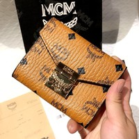 MCM Tide brand classic print female models small three fold short wallet wallet