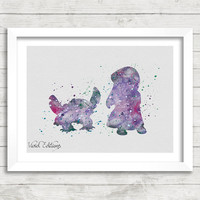 Lilo and Stitch Watercolor Art Poster Print, Pelekai, Wall Art, Home Decor, Gift, Not Framed, Buy 2 Get 1 Free! [No. 83-1]