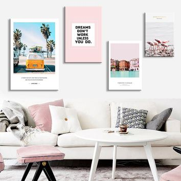 Tropical Sea Palm tree Bus Pink Flamingos Landscape Wall Art Canvas Poster Nordic  Prints Painting Wall Picture for Living Room