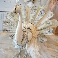 White peacock sculpture statue large metal ornate bird embellished w/ huge tattered tail and white feathers one of a kind anita spero design