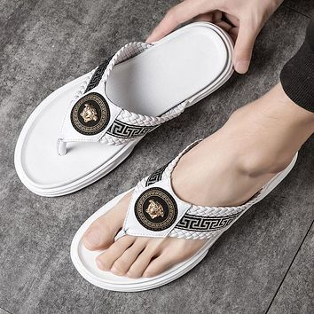 Versace new Medusa slippers men and women outdoor leisure non-slip outer wear personalized sandals
