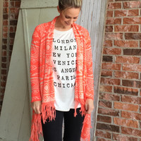 Neon Tribal Fringe Cardigan
