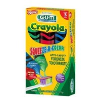 GUM Crayola Squeeze-A-Color Toothpaste, 3 Tubes