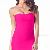 After Hours Fuchsia Sweetheart Neck Bandage Style Strapless Body Con Fitted Mini Dress