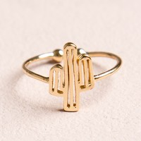 GOLD CACTUS OPEN RING