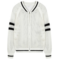 Hollow-out Stand-collar Knitted Jacket