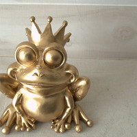Gold Frog Prince Statue, Whimsical Fairy Tale Figurine