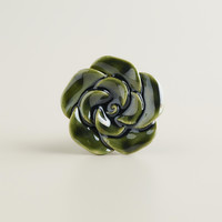 Ceramic Green Rose Floral Knobs, Set of 2 - World Market