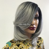 Silver gray ombre' lace front wig 0418 34 ON SALE