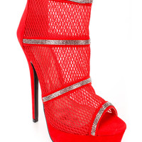Red Cute Fall Peep Toe Rhinestone Accent Booties Faux Suede