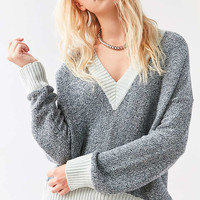 Silence + Noise Remy Deep V Sweater   Urban Outfitters