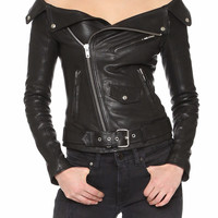 Missy Black Leather Moto Jacket