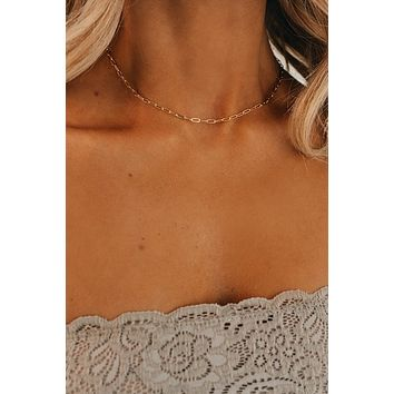 Chain Reaction Choker Necklace (Gold)