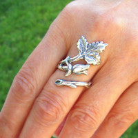 Large Rose Bud Flower Ring, Adjustable Long Stem, Sterling Silver Floral Leaf Ring, Silver Rose Ring Jewelry accessory