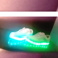 Couples colorful fluorescent usb charging led luminous shoes