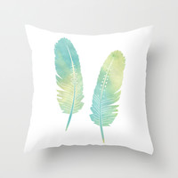 Boho Feather Watercolor Green and Blue Throw Pillow by Cute To Boot