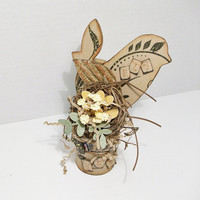 Hand Crafted Bird And Nest Assemblage by ToletallyPainted on Etsy