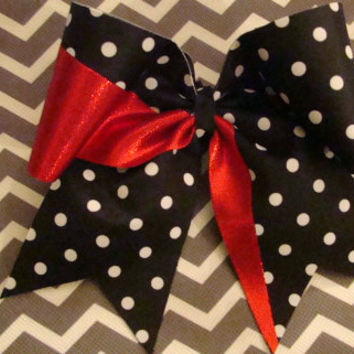 Black and White Polka Dot with Red Cheer Bow by isparklethat