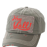 Hey Ya'll Distressed Cotton Baseball Cap Hat Moss, Embroidered On Torn Denim Decor