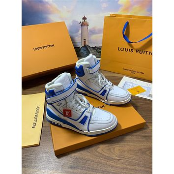 LV Louis Vuitton OFFICE QUALITY Men's Leather High Top Sneakers Shoes