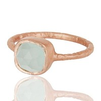 18k Rose Gold Sterling Silver Green Chalcedony Matte Satin Finish Ring