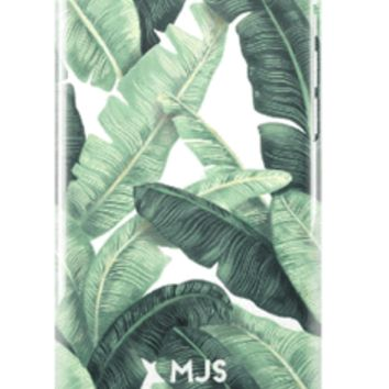 Palm Beach Chic White All Over Banana Leaves Phone or iPad Case