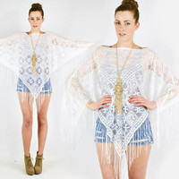vtg 90s 70s boho hippie white SHEER floral LACE crochet cut out FRINGE poncho shawl cape top S M L