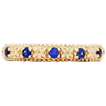 Daffodil Flower Milgrain Ring With Blue Sapphire
