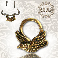 "Ornate 14g (1.6mm) Antiqued Swallow Brass Septum Nose Piercing 3/8"" ring diameter 9mm 18mm length Brass filigree"