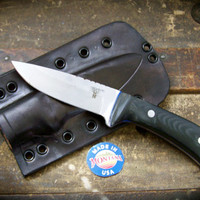 Custom Drop Point Survival Knife, Tactical Knife, Hunting Knife with Black Micarta Handle Scales and Custom Leather Tactical Sheath.