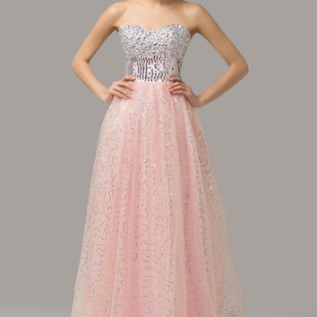Strapless Shimmering Sequins Beaded  A-Line Maxi Evening Dress