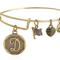 """Alex and Ani style  letter """"D"""" pattern pendant charm bracelet,a perfect gift !"""