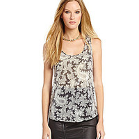 French Connection Paisley Party Sequined Top - Black/Multi
