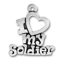 Sterling Silver Charm Pendant I Love My Soldier Words Heart Comes with a Split Ring