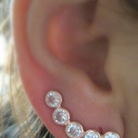Ear Pin Sweep Wrap - Cuff Earring with CZ stone - 925k Silver Rosa GP