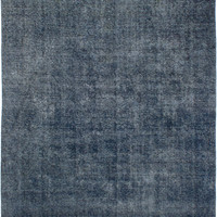 "7'3"" x 9'3"" Blue Denim Vintage Persian Overdyed Rug"