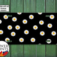 Daisy Flower Pattern Tumblr Inspired Black Cute For Front License Plate Car Tag One Size Fits All Vehicle Custom