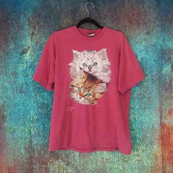 90s Cat Shirt Vintage Cats Kittens Graphic Tee Distressed T-Shirt Grunge Hipster Burnout Tshirt Retro Animal Top St Louis Holey Worn Clothes