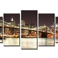Wieco Art - Giclee Canvas Prints Modern Stretched and Framed Artwork the Brooklyn Bridge 5 Panels Landscape Pictures to Photo Paintings on Canvas Wall Art for Home Decor