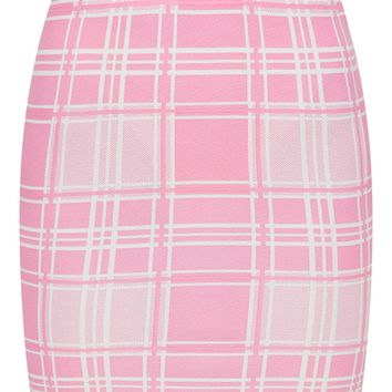 Pink Check Print Mini Skirt
