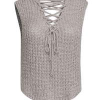 Beige V Neck Lace Up Front Knit Vest