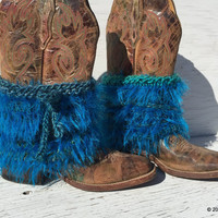 Turquoise Fur Boot Covers, Fur Boot Cuffs, Furry Boots, Knit Boot Covers, Furry Booties, Turquoise Fringe