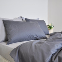 Dorm Duvet Cover Set in Dark Gray Single Twin Twin Xl, Cotton Bedding, Solid Color Bed Linen, Cosy Neutral Bedding, Duvet cover & Pillowcase