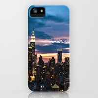 New York City By Night iPhone Case by Angela M. Designs