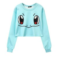 Women's Blue Pokemon Squirtle Cropped Pull Over Sweatshirt