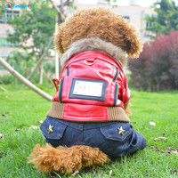 New Fashion High Grade Punk Style Pet Dog Leather Coat and Jeans Pants Jumpsuit Dog Overalls Clothes