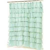 Carnation Home Fashions Carmen Crushed Voile Ruffled Tier Shower Curtain, 70-Inch by 72-Inch,Spa Blue