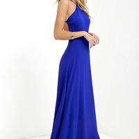 Pleasantly Surprised Royal Blue Backless Maxi Dress