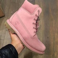 """""""Timberland"""" Boos With Fur Upper Leather Pink"""
