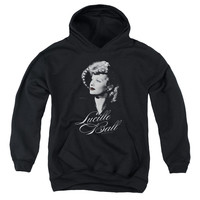 LUCILLE BALL/PRETTY GAZE-YOUTH PULL-OVER HOODIE - BLACK -